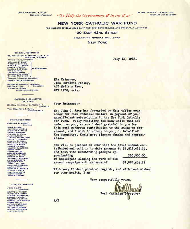 Cardinal Farley donation letter