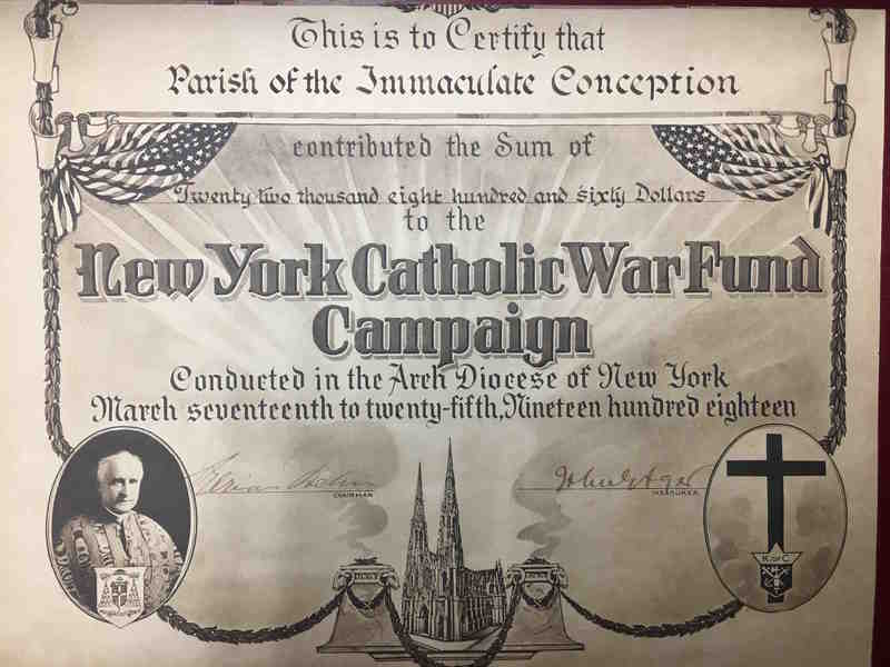 New York Catholic War Fund parish receipt, Immaculate Conception, Yonkers