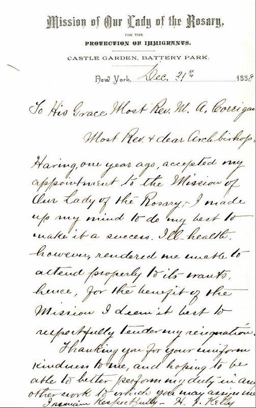 Fr. Hugh Kelly resignation letter