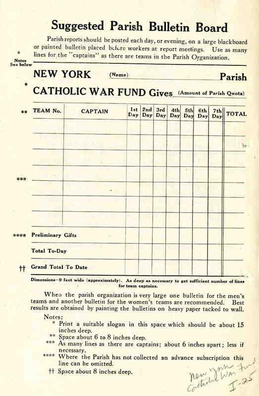 New York Catholic War Fund Parish Organization Chart