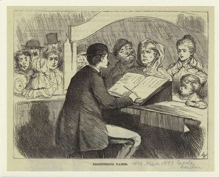 Registering Immigrants at Castle Garden, 1871